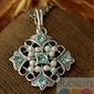MALTA - srebrny wisiorek akwamaryn i perłami
