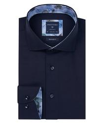 Granatowa koszula profuomo z wstawkami regular fit 42
