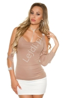Bluzka damska z rozciętymi rękawami i kryształkowymi taśmami | bluzeczka damska w kolorze cappuccino s11