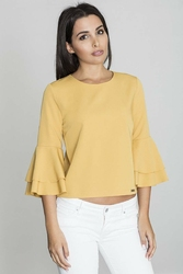 Żółta krótka bluzka z rozkloszowanymi rękawami