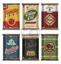 Plakat retro kolekcja puszek vector food