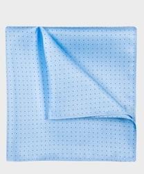 Elegancka niebieska poszetka jedwabna z granatowymi kropkami