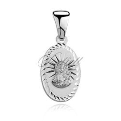 Srebrny medalik pr.925 matka boska częstochowska, kształt owalny
