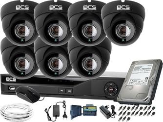7x bcs-dmq4503ir3-g bcs-xvr08014ke-ii 1tb zestaw do monitoringu 7 kamerowy