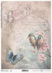 Papier ryżowy itd a4 r977 ptaki motyl