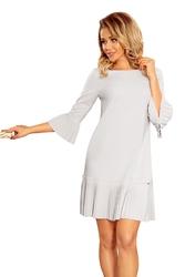 Szara sukienka wizytowa z plisowanymi falbankami