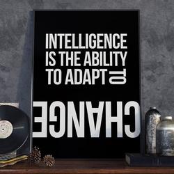 Intelligence is the ability to adapt to change - plakat w ramie , wymiary - 70cm x 100cm, wersja - białe napisy + czarne tło, kolor ramki - biały