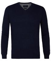 Granatowy sweter  pulower v-neck z bawełny pima  s