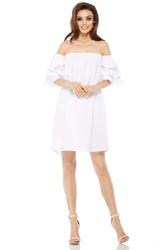 Biała letnia sukienka trapezowa z dekoltem carmen
