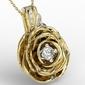 Wisiorek z żółtego i białego złota w kształcie róży z diamentami apw-95zb - żółte i białe  diament