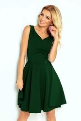 Zielona Rozkloszowana Sukienka z Dekoltem V
