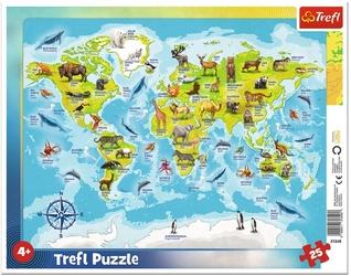 Puzzle ramkowe 25 elementów mapa świata zwierzęta 31340 trefl