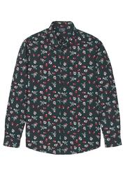 Koszula z długim rękawem i bożonarodzeniowym nadrukiem bonprix głęboki zielony z nadrukiem
