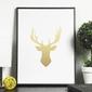 Złoty jeleń - plakat ze złotym nadrukiem , wymiary - 30cm x 40cm, kolor ramki - biały, kolor nadruku - złoty