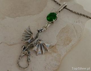 Dragon - srebrny wisiorek smok ze szmaragdem