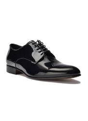Eleganckie czarne skórzane buty męskie do smokingu - lakierki 45,5