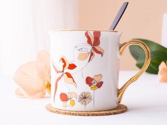 Kubek do kawy i herbaty porcelanowy ze złotym uchem altom design kobieta 250 ml, dekoracja  b