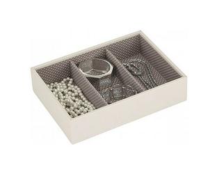 Pudełko na biżuterię 3 komorowe classic Stackers kremowo-fioletowe