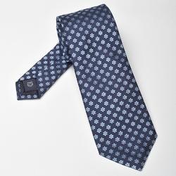 Elegancki granatowy krawat profuomo w błękitne kwiatuszki