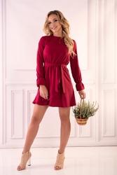 Wiśniowa wizytowa mini sukienka z falbankami