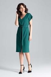 Zielona sukienka z wiązanym paskiem