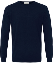 Sweter  pulower o-neck z wełny z merynosów granatowy xxl