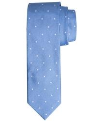 Elegancki błękitny krawat profuomo w białe grochy