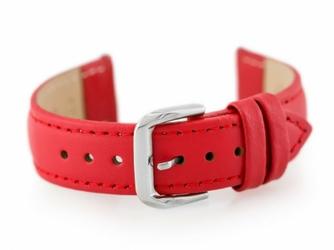 Pasek skórzany do zegarka W30 - w pudełku - czerwony - 16mm