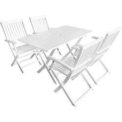 Zestaw ogrodowy stół + 4 krzesła mondo drewniany biały