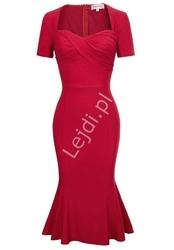 Elegancka czerwona sukienka midi tulipan, 524