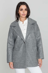 Szary krótki stylowy płaszcz damski zapinany na jeden guzik