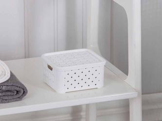Pojemnik  mały kosz do przechowywania plastikowy z pokrywą tontarelli arianna biały