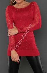 Czerwona elegancka swetrowa tunika z dżetami i koronką, 8051