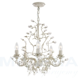 Almandite lampa wisząca 5 kremowe złoto kryształ
