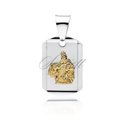 Srebrny medalik jezus  matka boska szkaplerzna pozłacana - żółte złoto    rodowanie