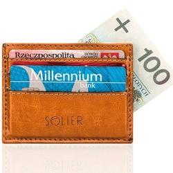 Skórzany portfel wizytownik męski solier sa13 jasny brąz - jasny brąz