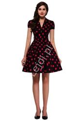 Czarna rozkloszowana sukienka w duże czerwone kropki, pin up na wesele 6089-7
