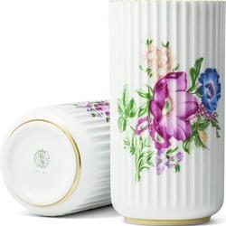 Wazon lyngby biały w kwiaty 20 cm