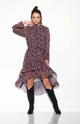 Zwiewna Sukienka Asymetryczna Z Falbankami we Wzory Druk 10