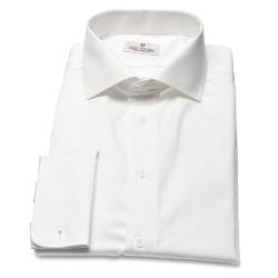 Biała koszula męska van thorn z klasycznym kołnierzykiem i kontrastową wstawką 36