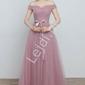 Wieczorowa tiulowa sukienka dla druhny, na studniówkę, wesele - pustynny róż 0718-2