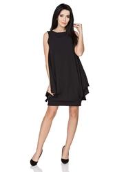 Czarna wyjściowa warstwowa sukienka bez rękawów