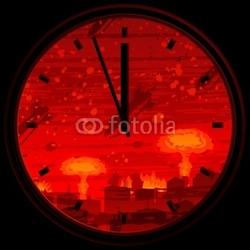 Obraz na płótnie canvas dwuczęściowy dyptyk Zegar zagłady pokazujący 3 minuty do północy