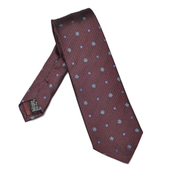 Elegancki bordowy krawat van thorn w bordowy i błękitny wzór