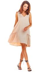 Luźna beżowa sukienka bez rękawów z falbanką