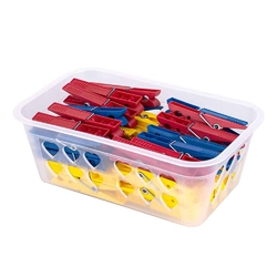 Koszyk  pojemnik na klamerki i spinacze prostokątny mtm w zestawie z klamerkami 50 sztuk