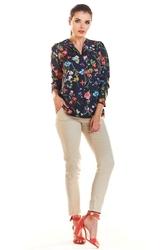 Granatowa bluzka w kwiaty z rękawem 34