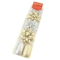 Zestaw do pakowania prezentów - 2 wstążki i 4 rozety - złoto-srebrny - złoto-srebrny