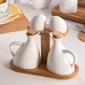 Zestaw przyprawników  komplet do przypraw  pojemniki na przyprawy na podstawie bambusowej porcelana altom design regular, komplet 4 przyprawników