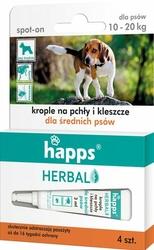 Happs Herbal, krople przeciw pchłom i kleszczom dla średnich psów 10-20kg, 4 sztuki